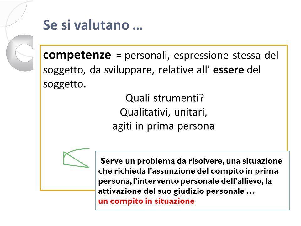 competenze = personali, espressione stessa del soggetto, da sviluppare, relative all essere del soggetto.
