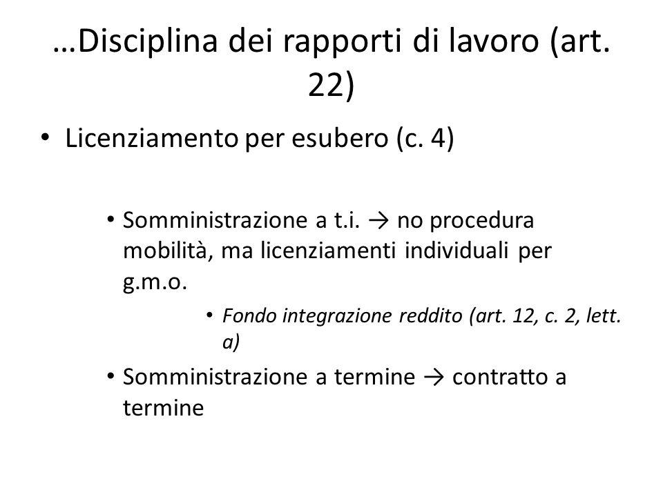 …Disciplina dei rapporti di lavoro (art. 22) Licenziamento per esubero (c. 4) Somministrazione a t.i. no procedura mobilità, ma licenziamenti individu