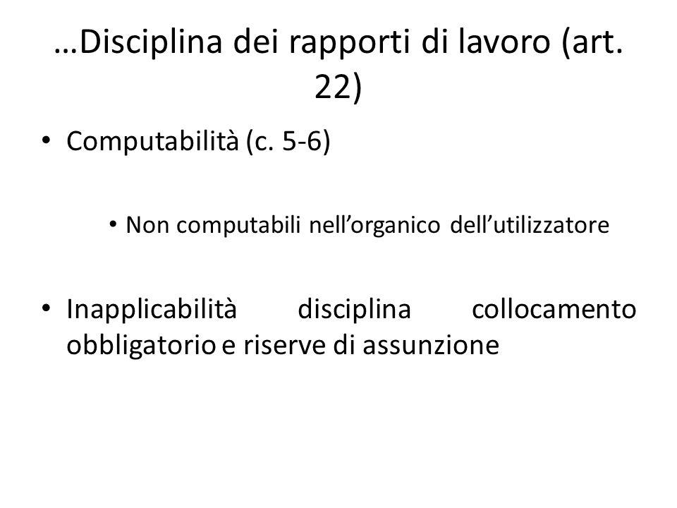 …Disciplina dei rapporti di lavoro (art. 22) Computabilità (c. 5-6) Non computabili nellorganico dellutilizzatore Inapplicabilità disciplina collocame