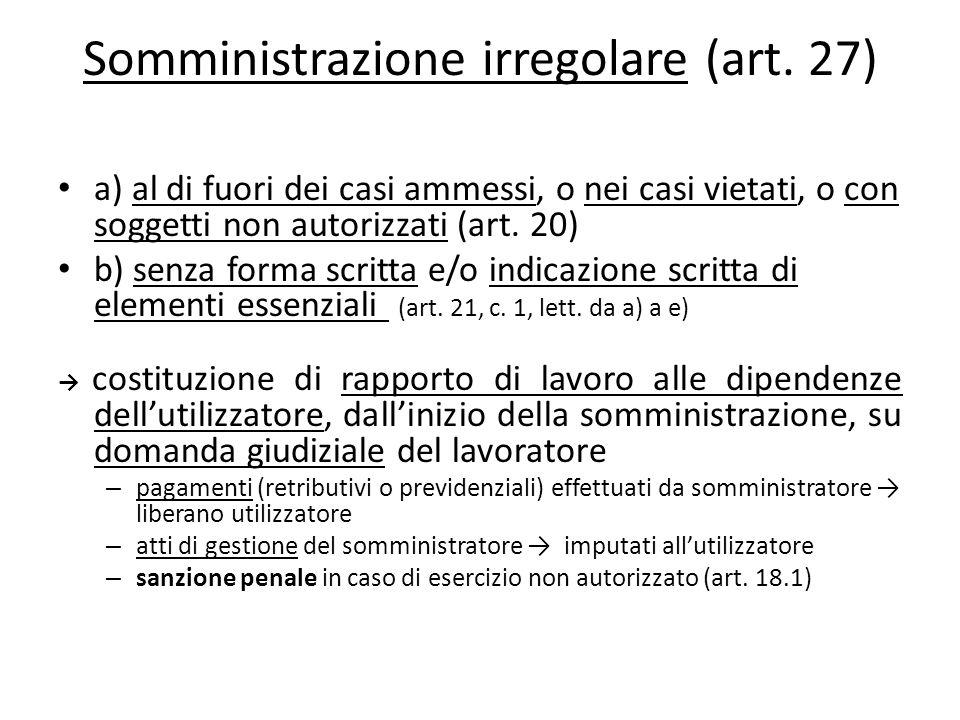 Somministrazione irregolare (art. 27) a) al di fuori dei casi ammessi, o nei casi vietati, o con soggetti non autorizzati (art. 20) b) senza forma scr