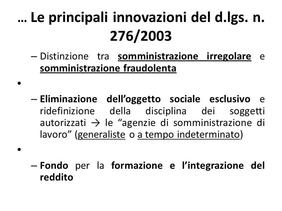 … Le principali innovazioni del d.lgs. n. 276/2003 – Distinzione tra somministrazione irregolare e somministrazione fraudolenta – Eliminazione dellogg