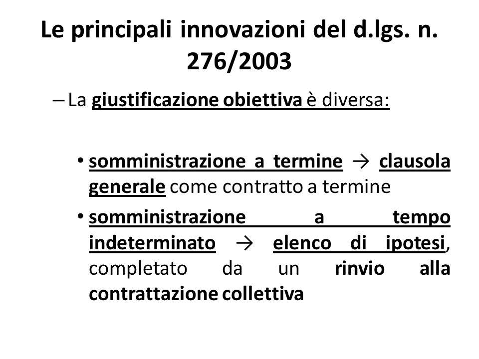 Le principali innovazioni del d.lgs. n. 276/2003 – La giustificazione obiettiva è diversa: somministrazione a termine clausola generale come contratto