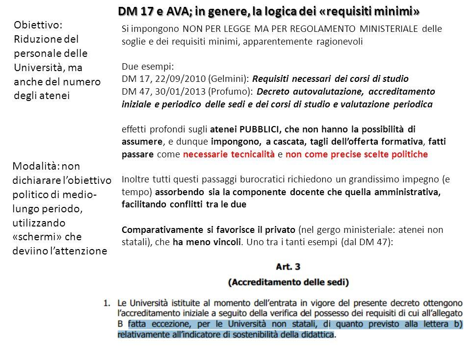 Obiettivo: Riduzione del personale delle Università, ma anche del numero degli atenei Modalità: non dichiarare lobiettivo politico di medio- lungo periodo, utilizzando «schermi» che deviino lattenzione DM 17 e AVA; in genere, la logica dei «requisiti minimi» Si impongono NON PER LEGGE MA PER REGOLAMENTO MINISTERIALE delle soglie e dei requisiti minimi, apparentemente ragionevoli Due esempi: DM 17, 22/09/2010 (Gelmini): Requisiti necessari dei corsi di studio DM 47, 30/01/2013 (Profumo): Decreto autovalutazione, accreditamento iniziale e periodico delle sedi e dei corsi di studio e valutazione periodica effetti profondi sugli atenei PUBBLICI, che non hanno la possibilità di assumere, e dunque impongono, a cascata, tagli dellofferta formativa, fatti passare come necessarie tecnicalità e non come precise scelte politiche Inoltre tutti questi passaggi burocratici richiedono un grandissimo impegno (e tempo) assorbendo sia la componente docente che quella amministrativa, facilitando conflitti tra le due Comparativamente si favorisce il privato (nel gergo ministeriale: atenei non statali), che ha meno vincoli.