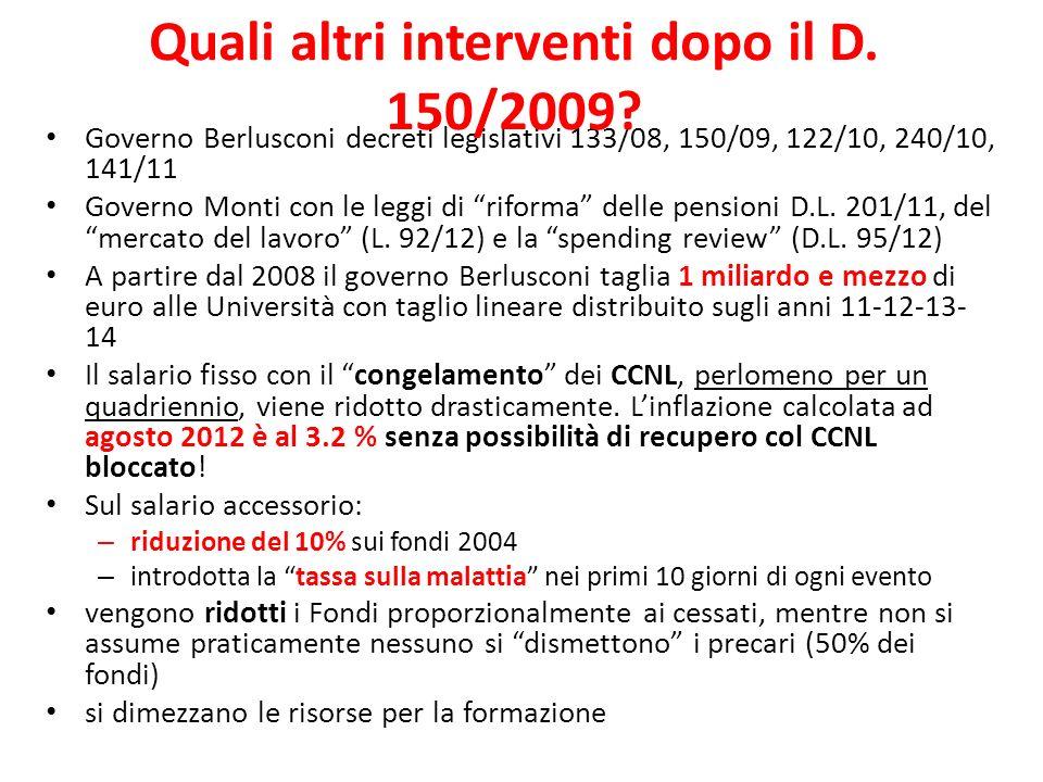 Governo Berlusconi decreti legislativi 133/08, 150/09, 122/10, 240/10, 141/11 Governo Monti con le leggi di riforma delle pensioni D.L.
