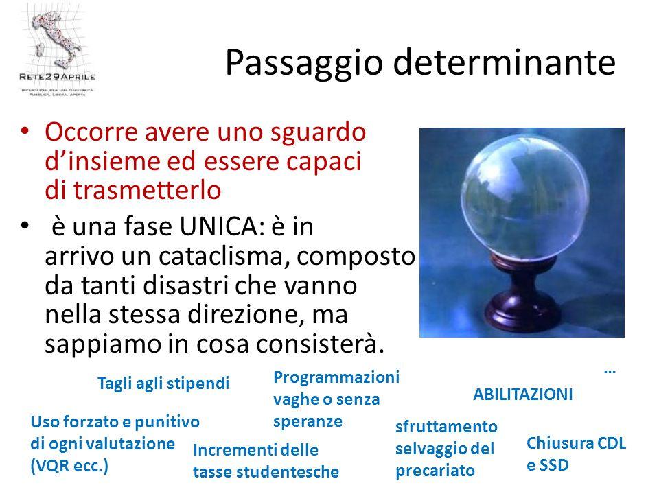 Passaggio determinante Occorre avere uno sguardo dinsieme ed essere capaci di trasmetterlo è una fase UNICA: è in arrivo un cataclisma, composto da tanti disastri che vanno nella stessa direzione, ma sappiamo in cosa consisterà.