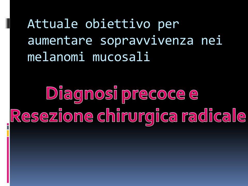 Attuale obiettivo per aumentare sopravvivenza nei melanomi mucosali