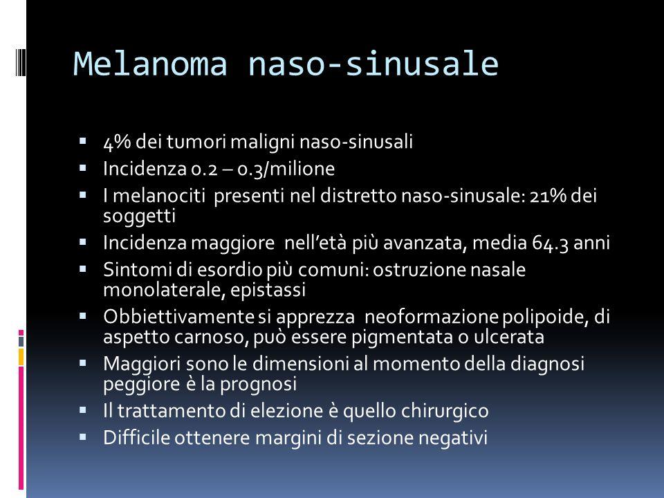 Melanoma naso-sinusale 4% dei tumori maligni naso-sinusali Incidenza 0.2 – 0.3/milione I melanociti presenti nel distretto naso-sinusale: 21% dei sogg