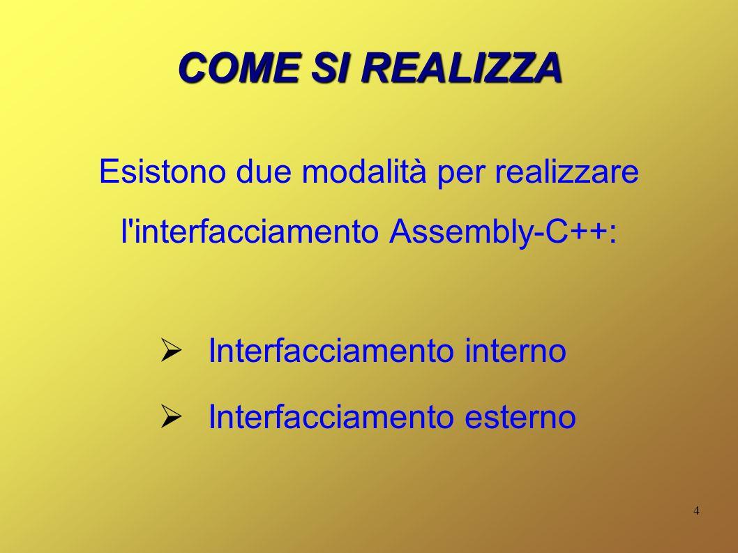 4 COME SI REALIZZA Esistono due modalità per realizzare l'interfacciamento Assembly-C++: Interfacciamento interno Interfacciamento esterno