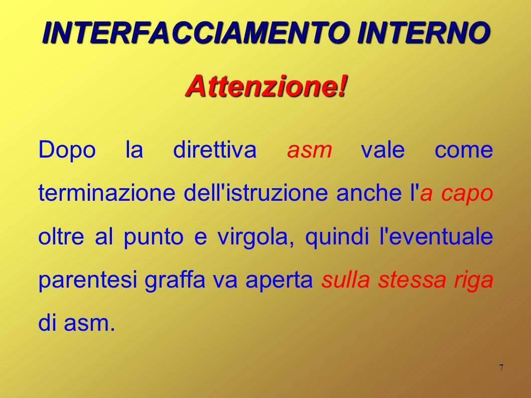 7 INTERFACCIAMENTO INTERNO Attenzione.