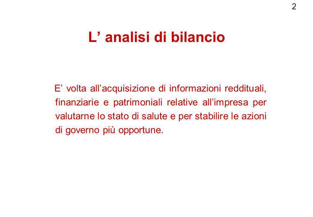 2 L analisi di bilancio E volta allacquisizione di informazioni reddituali, finanziarie e patrimoniali relative allimpresa per valutarne lo stato di s