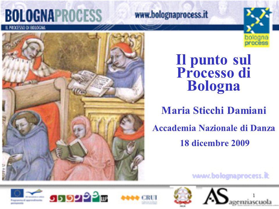 1 www.bolognaprocess.i t Il punto sul Processo di Bologna Maria Sticchi Damiani Accademia Nazionale di Danza 18 dicembre 2009