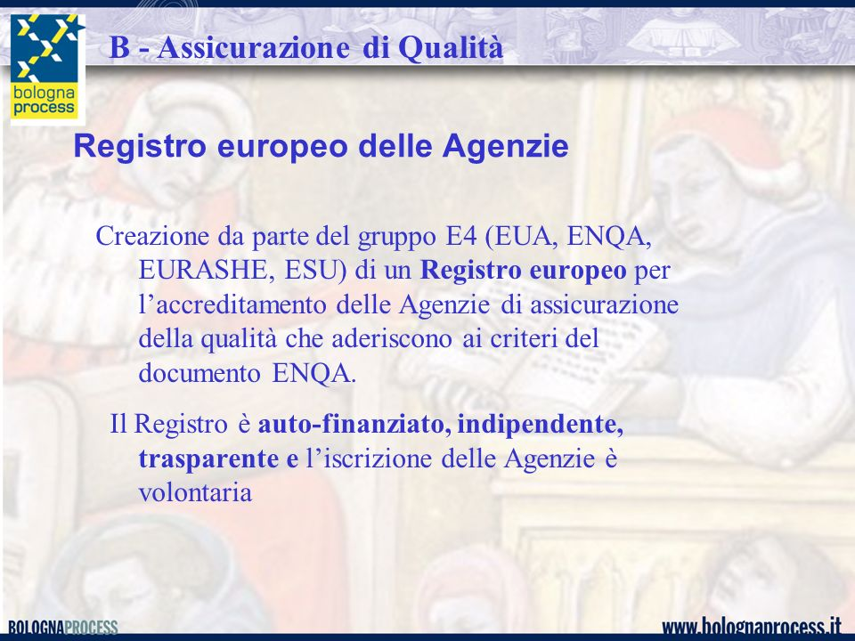 Registro europeo delle Agenzie Creazione da parte del gruppo E4 (EUA, ENQA, EURASHE, ESU) di un Registro europeo per laccreditamento delle Agenzie di assicurazione della qualità che aderiscono ai criteri del documento ENQA.