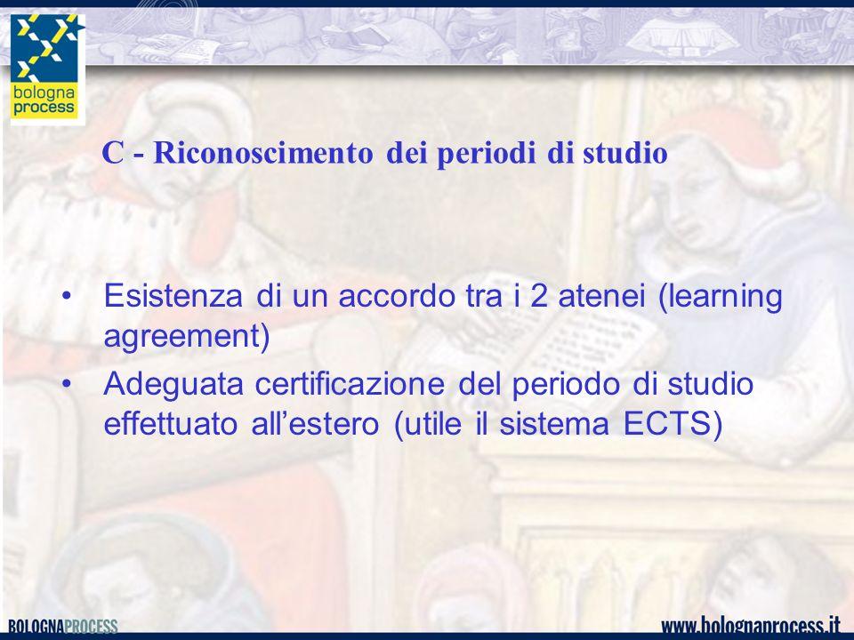 C - Riconoscimento dei periodi di studio Esistenza di un accordo tra i 2 atenei (learning agreement) Adeguata certificazione del periodo di studio effettuato allestero (utile il sistema ECTS)