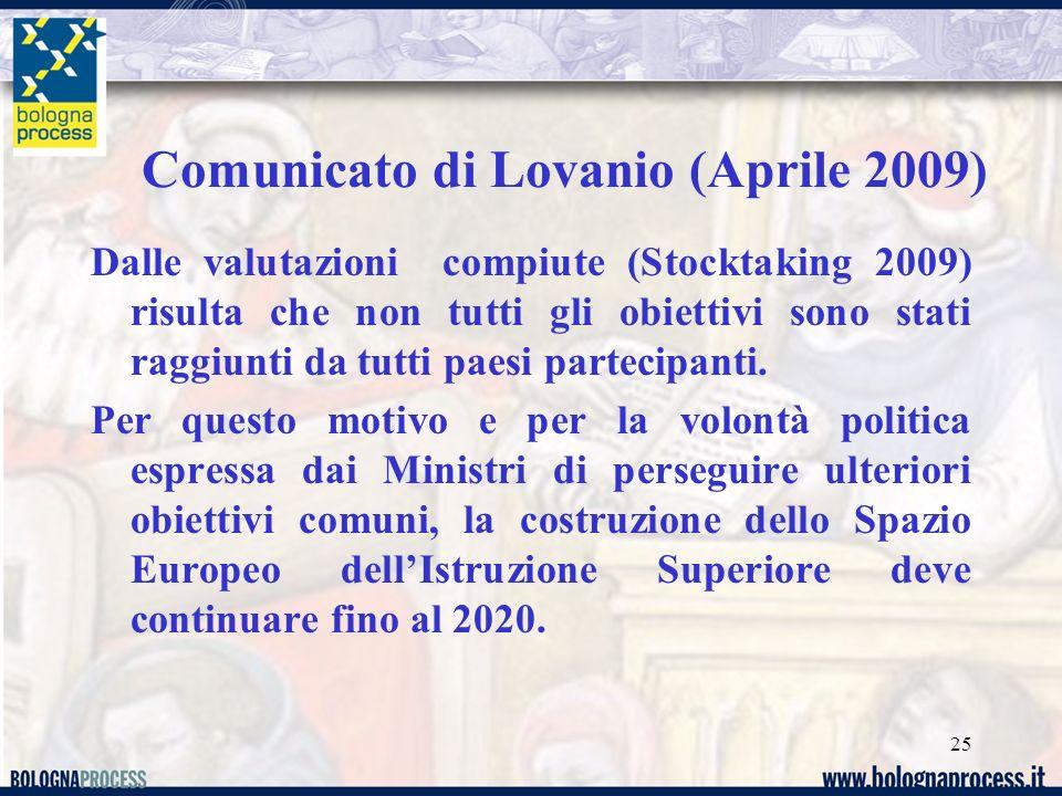 25 Dalle valutazioni compiute (Stocktaking 2009) risulta che non tutti gli obiettivi sono stati raggiunti da tutti paesi partecipanti.