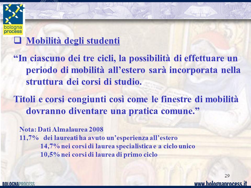 29 Mobilità degli studenti In ciascuno dei tre cicli, la possibilità di effettuare un periodo di mobilità allestero sarà incorporata nella struttura dei corsi di studio.