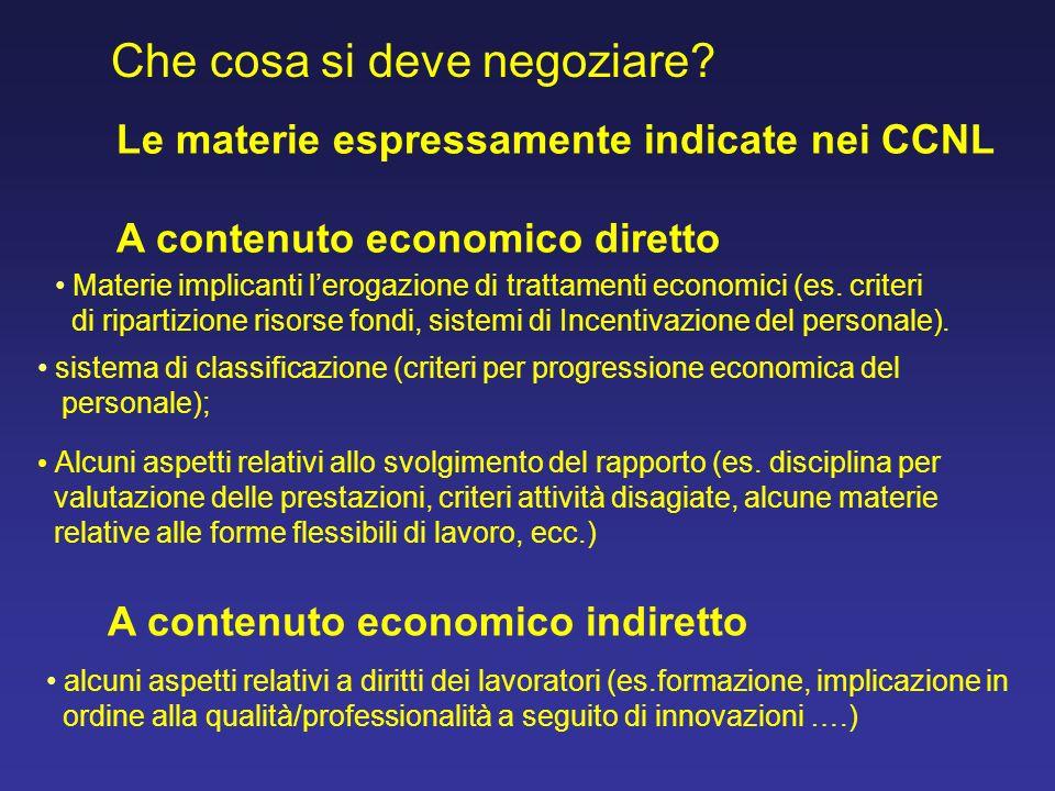 Che cosa si deve negoziare? sistema di classificazione (criteri per progressione economica del personale); Alcuni aspetti relativi allo svolgimento de