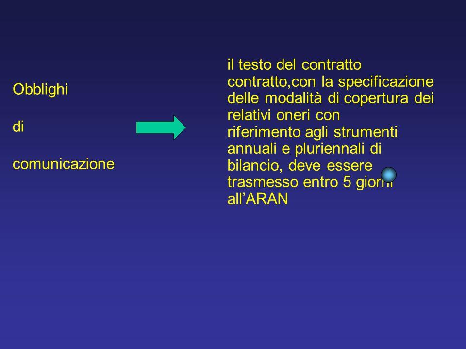 il testo del contratto contratto,con la specificazione delle modalità di copertura dei relativi oneri con riferimento agli strumenti annuali e pluriennali di bilancio, deve essere trasmesso entro 5 giorni allARAN Obblighi di comunicazione