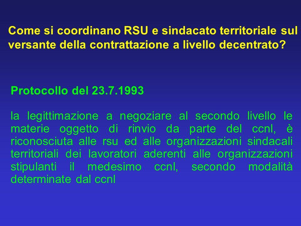 Come si coordinano RSU e sindacato territoriale sul versante della contrattazione a livello decentrato.