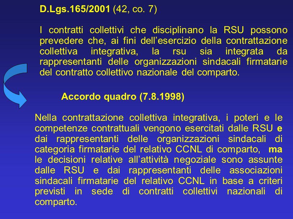D.Lgs.165/2001 (42, co. 7) I contratti collettivi che disciplinano la RSU possono prevedere che, ai fini dellesercizio della contrattazione collettiva