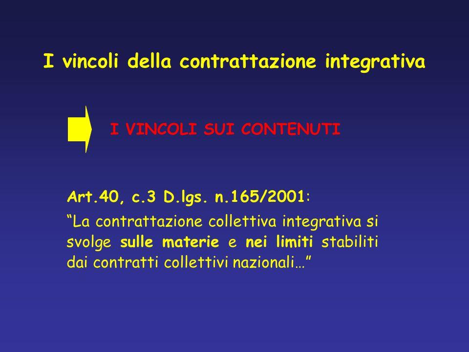 I vincoli della contrattazione integrativa Art.40, c.3 D.lgs. n.165/2001: La contrattazione collettiva integrativa si svolge sulle materie e nei limit