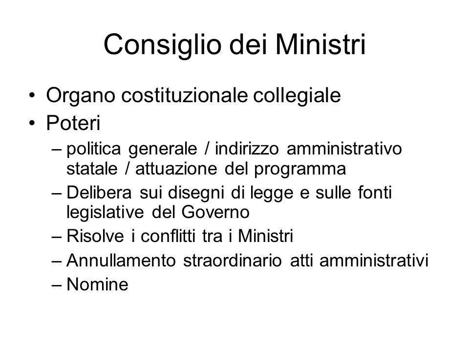 Consiglio dei Ministri Organo costituzionale collegiale Poteri –politica generale / indirizzo amministrativo statale / attuazione del programma –Delib