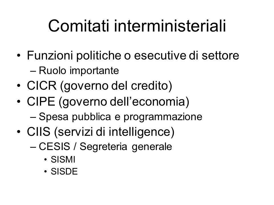 Comitati interministeriali Funzioni politiche o esecutive di settore –Ruolo importante CICR (governo del credito) CIPE (governo delleconomia) –Spesa p