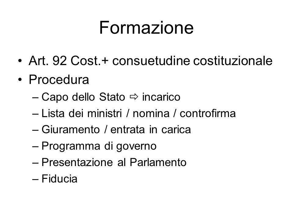 Formazione Art. 92 Cost.+ consuetudine costituzionale Procedura –Capo dello Stato incarico –Lista dei ministri / nomina / controfirma –Giuramento / en