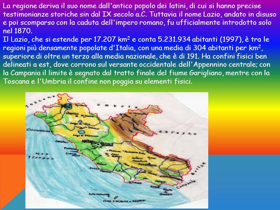 Il Lazio si affaccia sul mar Tirreno a ovest; è ripartita nelle province di Frosinone, Latina, Rieti, Roma e Viterbo; il capoluogo regionale è Roma.
