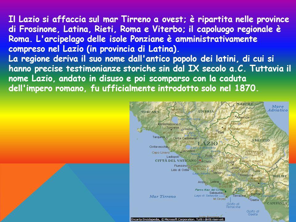 Il Lazio si affaccia sul mar Tirreno a ovest; è ripartita nelle province di Frosinone, Latina, Rieti, Roma e Viterbo; il capoluogo regionale è Roma. L