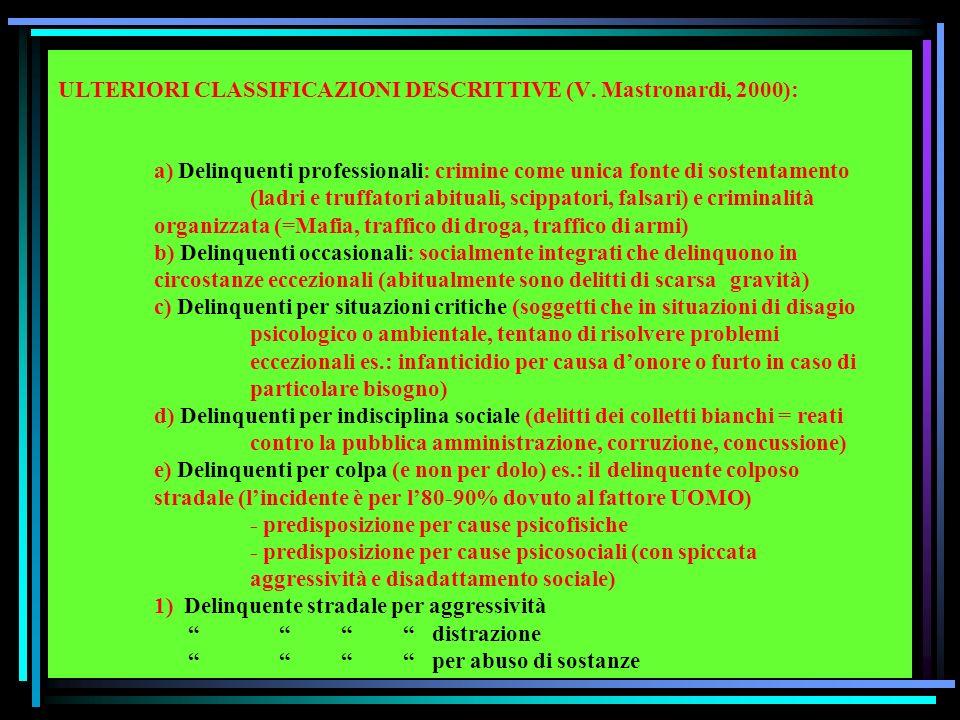 ULTERIORI CLASSIFICAZIONI DESCRITTIVE (V.