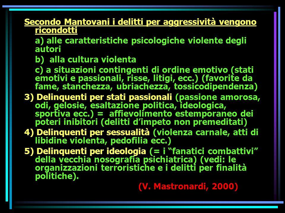 Secondo Mantovani i delitti per aggressività vengono ricondotti a) alle caratteristiche psicologiche violente degli autori b) alla cultura violenta c) a situazioni contingenti di ordine emotivo (stati emotivi e passionali, risse, litigi, ecc.) (favorite da fame, stanchezza, ubriachezza, tossicodipendenza) 3) Delinquenti per stati passionali (passione amorosa, odi, gelosie, esaltazione politica, ideologica, sportiva ecc.) = affievolimento estemporaneo dei poteri inibitori (delitti dimpeto non premeditati) 4) Delinquenti per sessualità (violenza carnale, atti di libidine violenta, pedofilia ecc.) 5) Delinquenti per ideologia (= i fanatici combattivi della vecchia nosografia psichiatrica) (vedi: le organizzazioni terroristiche e i delitti per finalità politiche).