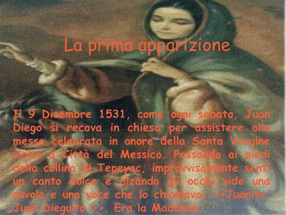 La prima apparizione Il 9 Dicembre 1531, come ogni sabato, Juan Diego si recava in chiesa per assistere alla messa celebrata in onore della Santa Verg