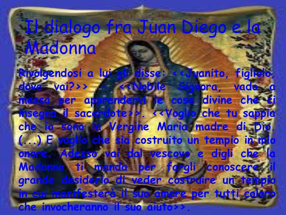 Il dialogo fra Juan Diego e la Madonna Rivolgendosi a lui gli disse: > - >. >.