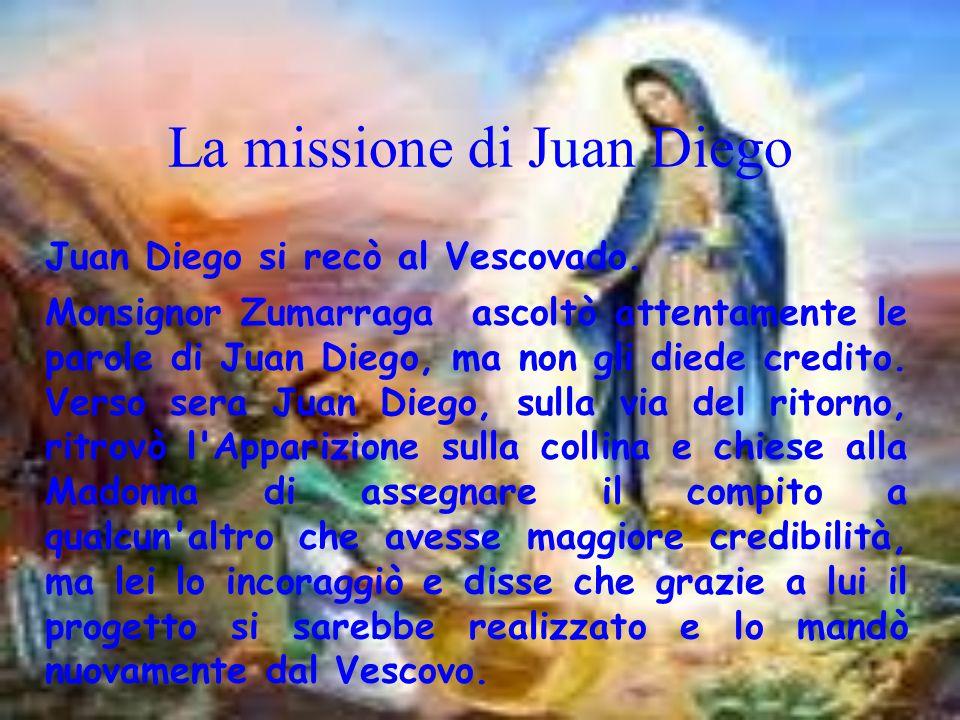 La missione di Juan Diego Juan Diego si recò al Vescovado. Monsignor Zumarraga ascoltò attentamente le parole di Juan Diego, ma non gli diede credito.