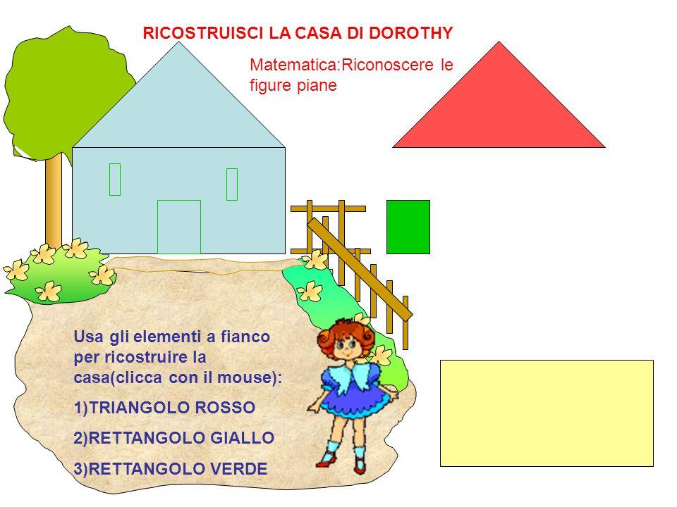 Usa gli elementi a fianco per ricostruire la casa(clicca con il mouse): 1)TRIANGOLO ROSSO 2)RETTANGOLO GIALLO 3)RETTANGOLO VERDE RICOSTRUISCI LA CASA
