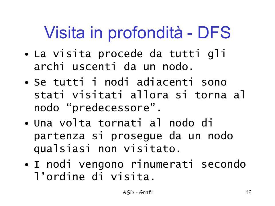 ASD - Grafi12 Visita in profondità - DFS La visita procede da tutti gli archi uscenti da un nodo.