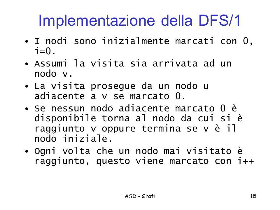 ASD - Grafi15 Implementazione della DFS/1 I nodi sono inizialmente marcati con 0, i=0.