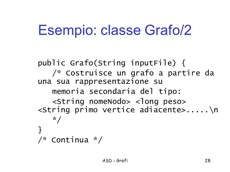 ASD - Grafi28 Esempio: classe Grafo/2 public Grafo(String inputFile) { /* Costruisce un grafo a partire da una sua rappresentazione su memoria secondaria del tipo:.....\n */ } /* Continua */