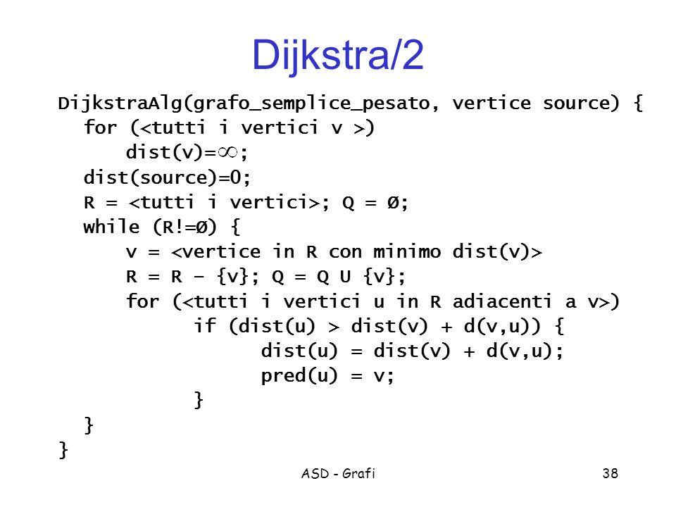 ASD - Grafi38 Dijkstra/2 DijkstraAlg(grafo_semplice_pesato, vertice source) { for ( ) dist(v)= ; dist(source)=0; R = ; Q = Ø; while (R!=Ø) { v = R = R – {v}; Q = Q U {v}; for ( ) if (dist(u) > dist(v) + d(v,u)) { dist(u) = dist(v) + d(v,u); pred(u) = v; }