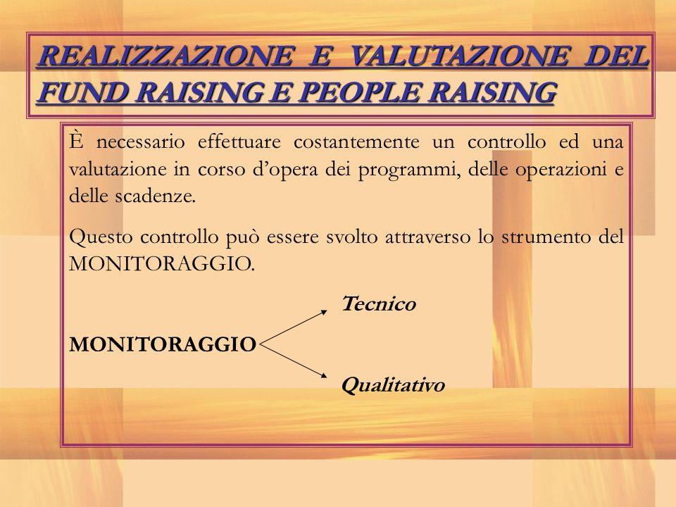 REALIZZAZIONE E VALUTAZIONE DEL FUND RAISING E PEOPLE RAISING È necessario effettuare costantemente un controllo ed una valutazione in corso dopera de