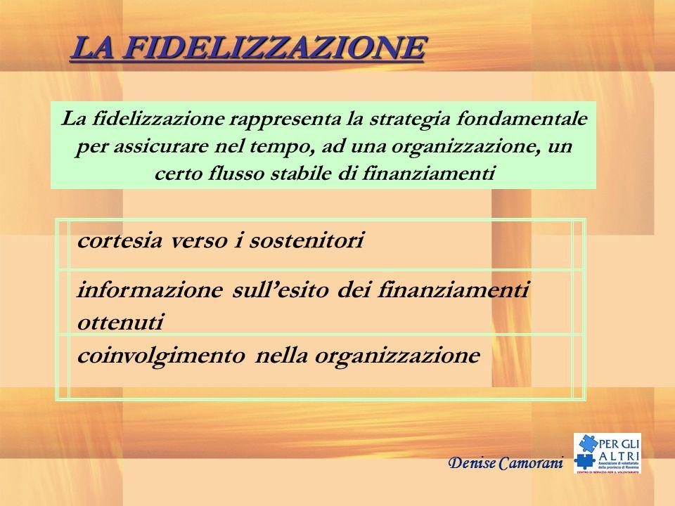 Denise Camorani cortesia verso i sostenitori informazione sullesito dei finanziamenti ottenuti coinvolgimento nella organizzazione LA FIDELIZZAZIONE L