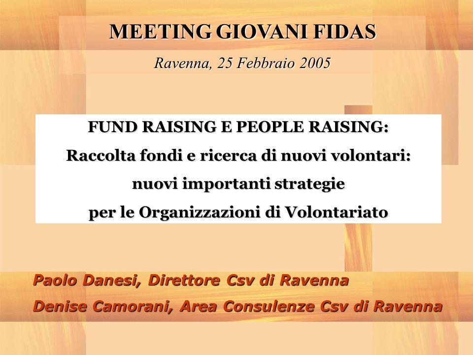MEETING GIOVANI FIDAS Ravenna, 25 Febbraio 2005 FUND RAISING E PEOPLE RAISING: Raccolta fondi e ricerca di nuovi volontari: nuovi importanti strategie