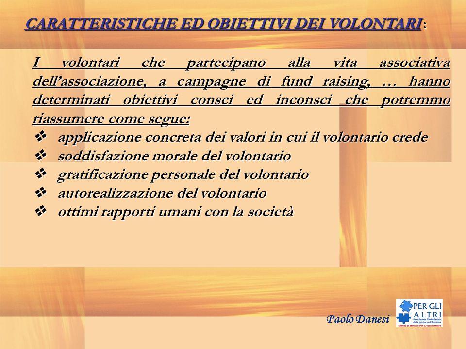 CARATTERISTICHE ED OBIETTIVI DEI VOLONTARI : I volontari che partecipano alla vita associativa dellassociazione, a campagne di fund raising, … hanno d