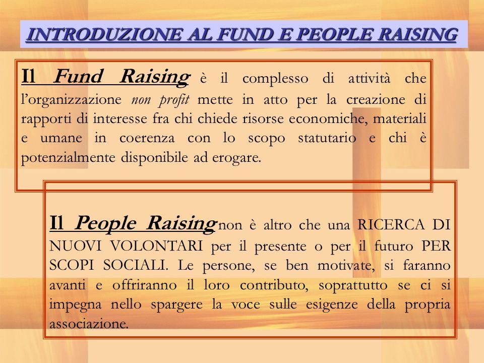 INTRODUZIONE AL FUND E PEOPLE RAISING Il Fund Raising è il complesso di attività che lorganizzazione non profit mette in atto per la creazione di rapp