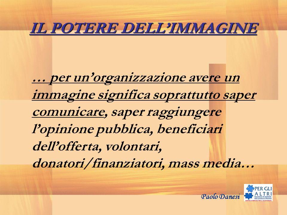 IL POTERE DELLIMMAGINE … per unorganizzazione avere un immagine significa soprattutto saper comunicare, saper raggiungere lopinione pubblica, benefici