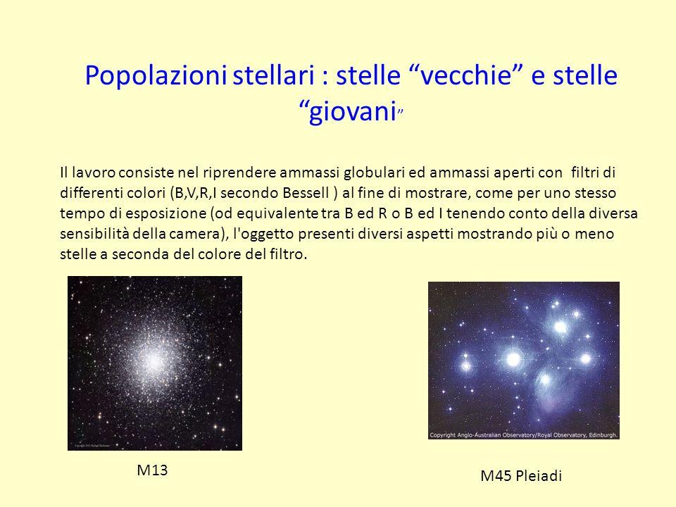 Popolazioni stellari : stelle vecchie e stelle giovani Il lavoro consiste nel riprendere ammassi globulari ed ammassi aperti con filtri di differenti