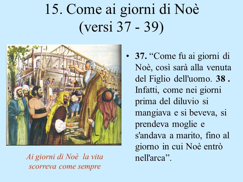 14. Gesù tornerà: (versi 30 - 36) v. 30 : Allora apparirà nel cielo il segno del Figlio dell'uomo; e allora tutte le tribù della terra faranno cordogl