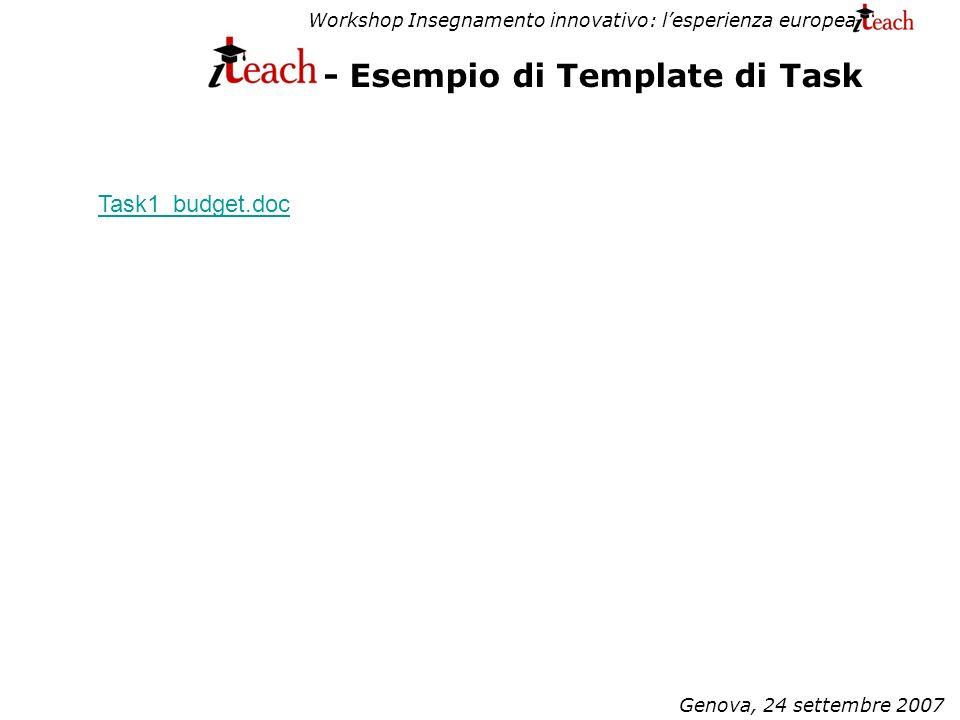 Workshop Insegnamento innovativo: lesperienza europea Genova, 24 settembre 2007 - Esempio di Template di Task Task1_budget.doc