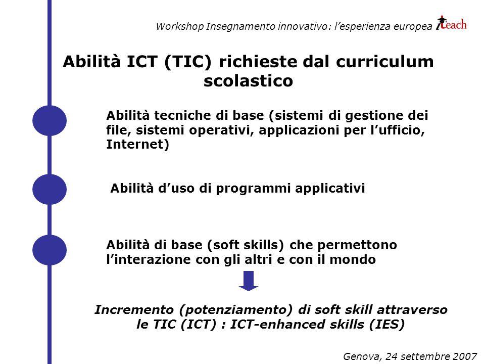 Workshop Insegnamento innovativo: lesperienza europea Genova, 24 settembre 2007 Abilità ICT (TIC) richieste dal curriculum scolastico Abilità tecniche di base (sistemi di gestione dei file, sistemi operativi, applicazioni per lufficio, Internet) Abilità duso di programmi applicativi Abilità di base (soft skills) che permettono linterazione con gli altri e con il mondo Incremento (potenziamento) di soft skill attraverso le TIC (ICT) : ICT-enhanced skills (IES)