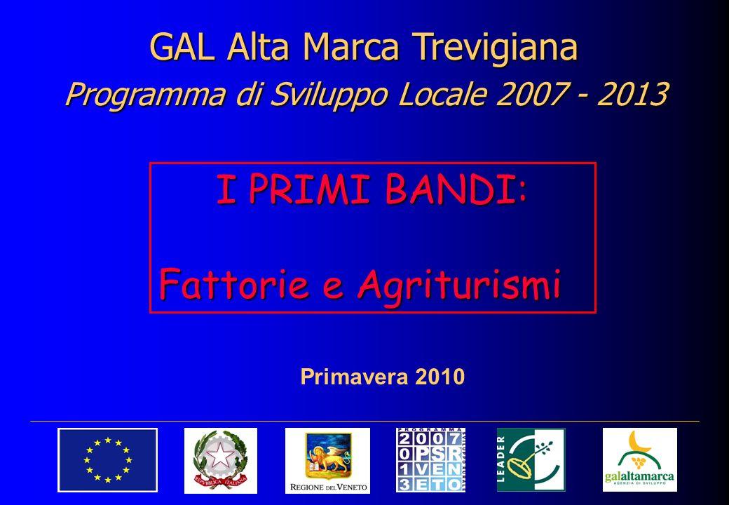 GAL Alta Marca Trevigiana Programma di Sviluppo Locale 2007 - 2013 Primavera 2010 I PRIMI BANDI: Fattorie e Agriturismi